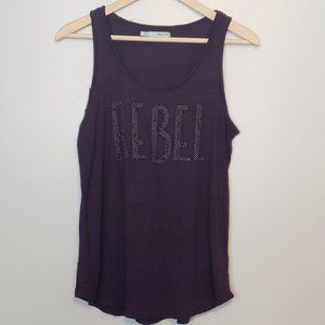 "Purple Raw Hem Studded ""REBEL"" large L Festival"